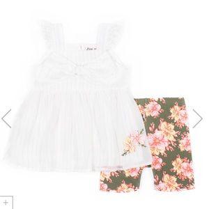 Little Lass White Bow Top & Floral Shorts